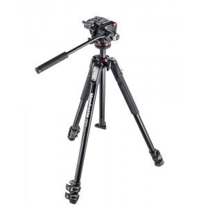 Manfrotto 190X ALU STOJALO z Fluid video glavo - MK190X3-2W (MHXPRO-2W, 3 sekcije, obračljiv steber,)