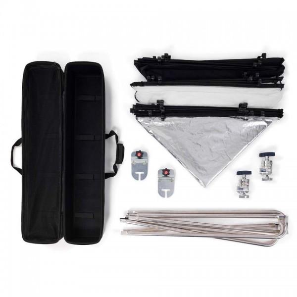 Manfrotto Pro Scrim All in One kit Large 2,0x2,0m - MLLC2201K (1,25 STOP, črna prevleka, Srebrn/bel odbojnik,)