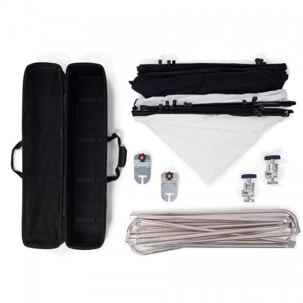 Manfrotto Pro Scrim All in One kit Extra Large - MLLC3301K (2,9x2,9m, 1,25 STOP, črna prevleka, Srebrn/bel odb)